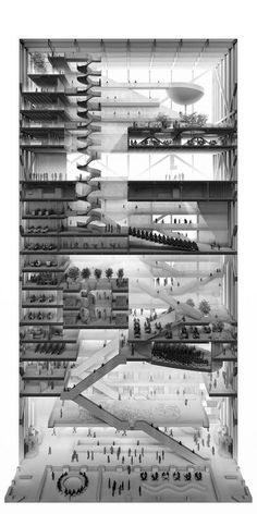 Center for Architecture, Design & Education, Sectional Perspective - Pavlo Kryvozub - Sections & stuff - # Coupes Architecture, Architecture Design, Architecture Art Nouveau, Architecture Panel, Education Architecture, Architecture Graphics, Architecture Portfolio, Architecture Drawings, Landscape Architecture