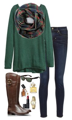 """""""plaid scarf"""" by kaley-ii ❤ liked on Polyvore featuring rag & bone, H&M, Tory Burch, Ray-Ban, Marc Jacobs, Bobbi Brown Cosmetics, Kate Spade and NARS Cosmetics"""