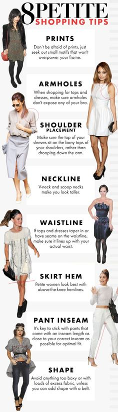 A few easy tips for the petite ladies in the house. | 41 Insanely Helpful Style Charts Every Woman Needs Right Now