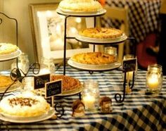 Dessert bar with food labels, ... nice display