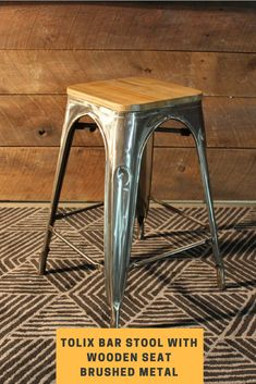 Tolix Bar Stool With Wooden Seat - Brushed - Wazo Furniture High Bar Stools, Brushed Metal, Mid Century Design, Warm And Cozy, Counter, Contrast, Steel, Inspired, Wood