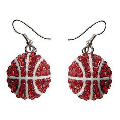 Ncaa iu indiana hoosiers red crystal rhinestone #basketball #earrings #(wisconsin,  View more on the LINK: http://www.zeppy.io/product/gb/2/361201489455/