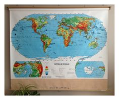 Vintage World Map Pull Down Wall Hanging by vintage19something, $175.00