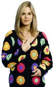 Granny Squares Crochet Jacket ~ free pattern