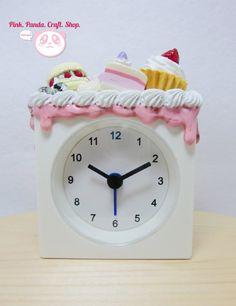 Sweet decoden white square desk clock by pinkpandacraftshop, $25.00