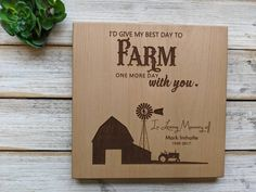 Memorial Plaque for Farmer , Farm Sympathy Gift, Personalized Sympathy Gift, Farming Funeral Gift, Engraved Memorial Gift, Memorial Scene