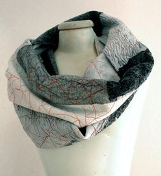 black and white nuno felt cool infinity scarf by gaiagirard