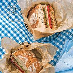Picnic Idea - Radicchio, Roasted Pepper, and Provolone Ciabatta Sandwiches | MyRecipes.com