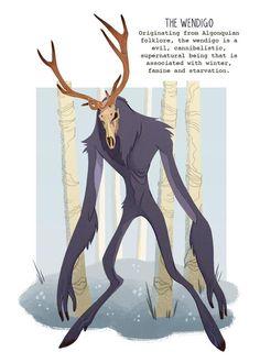 The Wendigo - Cryptid print Mythical Creatures Art, Mythological Creatures, Magical Creatures, Fantasy Creatures, Creature Concept Art, Creature Design, Fantasy Character Design, Character Art, Der Wendigo