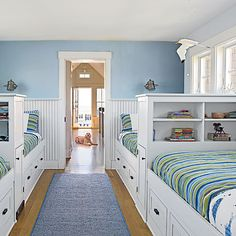 Embrace the Power of Built-ins - 20 Fun, Beachy Bunk Rooms - Coastal Living Mobile Coastal Bedrooms, Coastal Living Rooms, Shared Bedrooms, Bed In Living Room, Home Bedroom, Bedroom Decor, Girls Bedroom, Bedroom Beach, Bedroom Ideas
