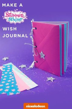 Make this sparkling Shimmer and Shine wish journal craft together with your preschooler for a genie-riffic time.  Looking for a shimmery, shiny activity to do with the kids on a rainy day, or even at a genie birthday party? Make this easy journal craft to store children's wishes! And when they've filled it with their wildest dreams, you can add envelopes to expand the journal using our clever, flexible binding method.