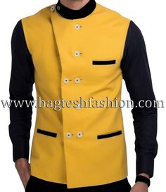 Designer angrakha style double breasted Nehru jacket made from mustard yellow color imported fabric. Dryclean only. Black Waistcoat, Men's Waistcoat, Black Vest, Modi Jacket, Vest Jacket, Nehru Jackets, Chef Jackets, Fashion Suits, Mens Fashion