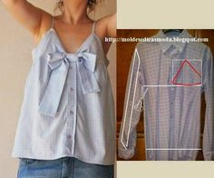 Sewing Refashion: Men's shirt into Top Altered Couture, Shirt Refashion, Diy Shirt, Clothes Crafts, Sewing Clothes, Remake Clothes, Tops Diy, Diy Fashion, Ideias Fashion