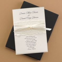 Elegant Ecru Lace - Invitation - Elegance is brought forth by a bands of ecru satin ribbon and lace that wrap around an ecru shimmer base card printed with your invitation wording. Royal Invitation, Wedding Invitation Trends, Creative Wedding Invitations, Sweet 16 Invitations, Laser Cut Wedding Invitations, Invitation Wording, Elegant Wedding Invitations, Wedding Stationery, Invitation Ideas