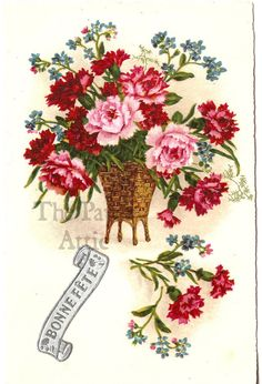 Pretty Red & Pink Chrysanthemums in Basket Vintage French Chromo Postcard