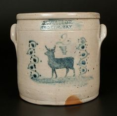 """Rare Two-Gallon Stoneware Crock with Stenciled Deer and Stylized Slip-Trailed Decoration, Stamped """"J.C. WAELDE / NORTH BAY,"""" New York State origin, circa 1855."""