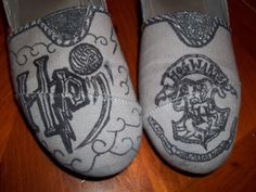 The Harry Potter Shoes. <3  Make your own affordable customized shoes at http://www.etsy.com/shop/TheWalkingArtInk?ref=search_shop_redirect