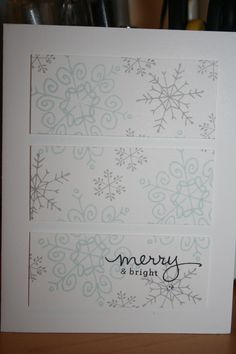 Christmas card using Stampin Up's Endless Wishes stamp set. I used Soft Sky and Smokey Slate ink on Whisper White card stock.