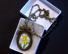 Victorian styled Spring Daffodil Pendant This bright yellow flower necklace is perfect  floral Print is my own Art work matching chain  , by ArtisticImaginations on Etsy