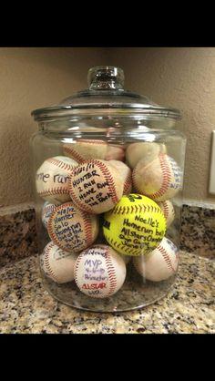 Put kids home run balls in this big glass jar from Walmart!