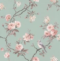 Bird Song Eau de Nil wallpaper by Albany