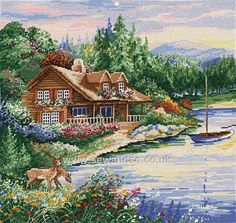 Buy Lakeside Cabin Cross Stitch Kit Online at www.sewandso.co.uk