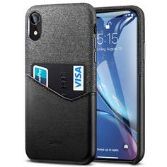 [$6.65]ESR Metro Series Soft Fabric + PU Leather Case for iPhone XR, with Card Slot(Black) Leather Case, Pu Leather, Iphone Parts, Soft Fabrics, Slot, Card Holder, Samsung, Wallet, Cards