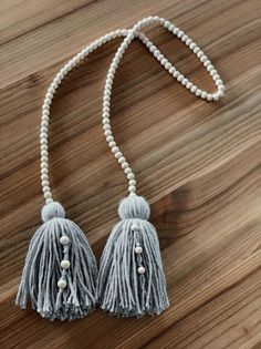 Wood beads and Tassel Garland, Wood Bead Garland, Boho Home decor, Country home decor, Tassel Garlan Wood Bead Garland, Tassel Garland, Tassels, Garlands, Diy Home Crafts, Yarn Crafts, Crafts To Sell, Crochet Motifs, Heart Decorations