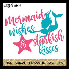 Absolutely adorable mermaid themed free svg for creating all sorts of goodies and gifts for the mermaid lover in your life or party decorations for a birthday. Free design is compatible with Cricut and Silhouette cutting machines.
