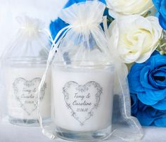 Handmade personalised scented wedding favour candles #wedding #weddingideas #weddingfavours #personalisedgift #personalisedfavours #favors #candles #handmade #natural #lasaircandles #ireland #irish #uk #white #blue #rose #irishweddingcandles #whiteweddingcandles #scentedcandle