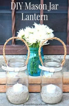 Mason Jar Lanterns - penniesintopearls.com - Crazy easy mason jar crafts! Super easy way to create your own Pottery Barn copycat craft!