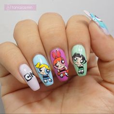39 Best Spring Nail Trends From the 2020 – Super Spirt Disney Acrylic Nails, Best Acrylic Nails, Summer Acrylic Nails, Acrylic Nail Designs, Aycrlic Nails, Swag Nails, Nail Nail, Powerpuff Girls, Equestria Girls