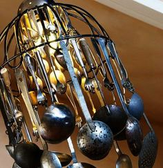 upcycled flatware chandelier