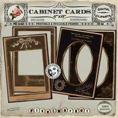 CABINET CARDS Picture Frame ClipArts Vintage Paper Frames Printable Download for Photographer Blog Scrapbooking Papercraft black n202 by pixelmarket on Etsy
