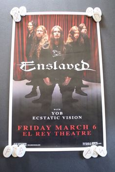 ENSLAVED CONCERT POSTER El Rey Theater Los Angeles 2015 Yob 11x17 Viking Metal