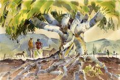 Under the Tree, California art by Hugh Duncan. HD giclee art prints for sale at CaliforniaWatercolor.com - original California paintings, & premium giclee prints for sale