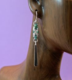 Handmade Sterling Silver and Green Niobium Chainmaille Byzantine Paddle Earrings
