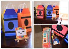 Decoração de festa infantil com tema artes