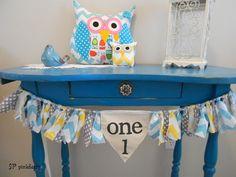 Birthday High Chair Banner/ Garland/ AGE or INITIAL / Shabby Fabric Rag Tie Garland/ First Birthday/Pennant Banner/ Nursery/CUSTOM on Etsy, $32.00