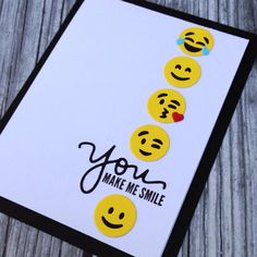 A fun way to tell someone special that they bring a smile to your face. Perfect for so many different occasions. This card is made to order so it will have a 1-2 day processing time. All of my card bases are made using a sturdy 110 lb cardstock. I use quality supplies and adhesives and my attention to detail shows in my cards. All cards include an envelope, are packaged in a clear protective sleeve, and are shipped in a bubble mailer with a chipboard backing for added support and protection…