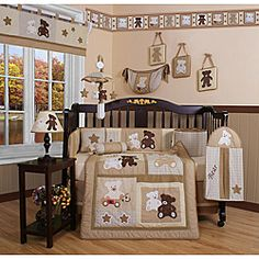 Dress up and decorate your baby's room with this beautiful 13-piece teddy bear crib bedding set. This set includes a crib quilt, two valances, skirt, sheets, bumpers, diaper stacker, toy bag, two throw pillows and three wall hangings.