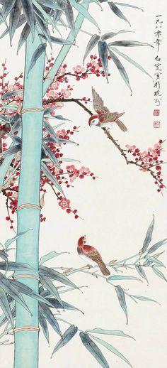 Birds Among the Sakura Japanese Artwork, Japanese Prints, Chinese Painting, Chinese Art, Chinese Bamboo, Bamboo Art, Bamboo Drawing, Creation Art, Japan Painting