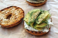 Toasted bagel with dill cream cheese & avocado recipe