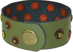 This free cuff bracelet project from Rings & Things features an olive-green leather snap/wrap bracelet embellished with African black, red and yellow vinyl heishi beads. Jewelry Tools, Jewelry Making Supplies, Jewelry Ideas, Leather Cuffs, Leather Jewelry, Beads Pictures, African Trade Beads, Bracelet Tutorial, How To Make Beads