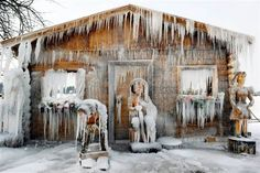 Frozen tiny cabin in Sweden....part of the arctic outbreak in Europe January 2012...........minus 26.5 degrees....yikes...hope there is a wood stove in that tiny cabin!