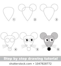 Kid game to develop drawing skill with easy gaming level for preschool kids, drawing educational tutorial for Head Of Funny Mouse games Drawing Lessons For Kids, Easy Drawings For Kids, Drawing Skills, Drawing Tutorials For Kids, Games For Kids, Art For Kids, Kid Games, Animal Drawings, Art Drawings