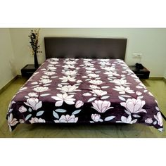 Valtellina Flower With Leaves Design Single Bed #Blanket #onlineshoppinghttp://goo.gl/LwRnNc