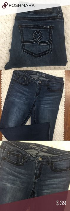 Seven jeans slim boot denim 12 Seven brand denim jeans, slim boot fit, size 12. Excellent preowned condition and very very slight wear and one of the cuffs shown in photos other than that these jeans are perfect and gently pre-worn 7 For All Mankind Jeans Boot Cut