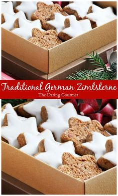 Traditional German Zimtsterne (Cinnamon Star Cookies).