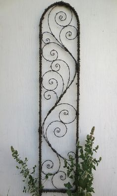5 feet of Elegant Spirals Barbed Wire Spirilian Trellis Made to Order by The Dusty Raven Gallery, via Etsy